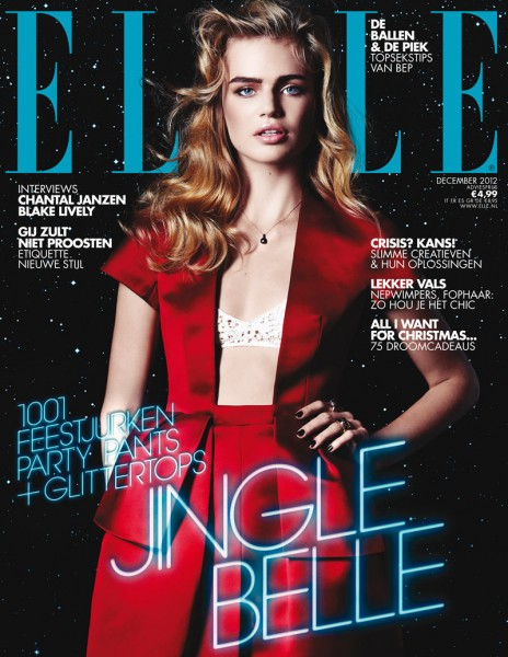 Milou Sluis Wears Holiday Red for Elle Netherlands' December 2012 Cover