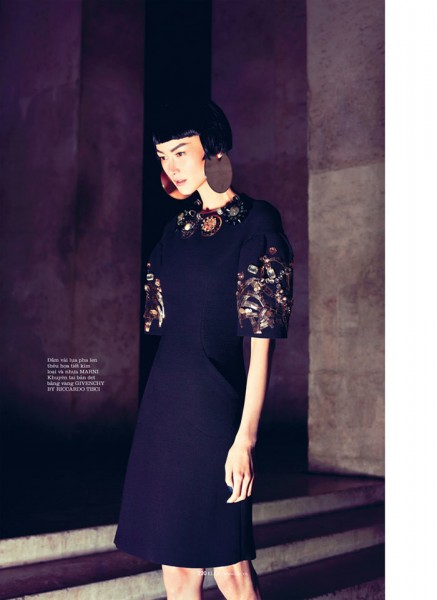 Hye Jung Lee Models Dark Winter Fashions for Elle Vietnam December 2012