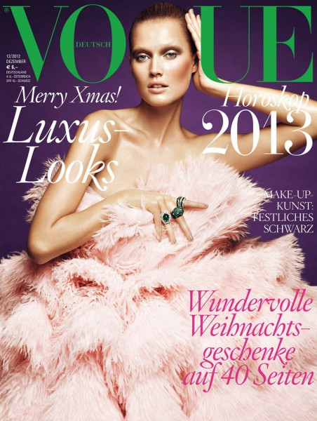 Toni Garrn Graces Vogue Germany's December 2012 Cover in Alexander McQueen