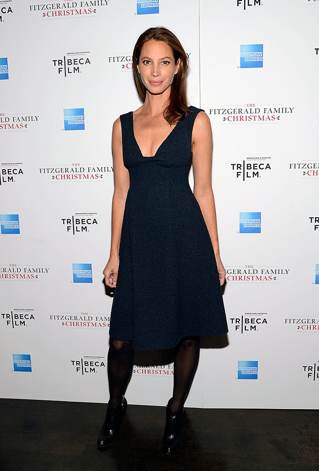 Christy Turlington in Calvin Klein at The Fitzgerald Family Christmas Screening