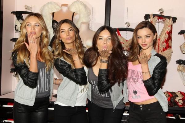 Victoria's Secret Angels Adriana Lima, Miranda Kerr and Candice Swanepoel Celebrate Holidays at Herald Square Store