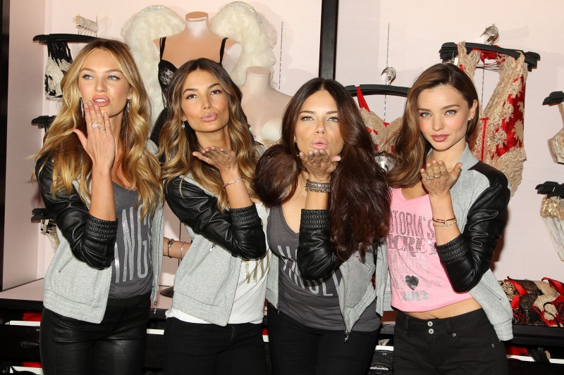Victoria's Secret Angels Adriana Lima, Miranda Kerr and Candice Swanepoel Celebrate Holidays at Herald Square Store