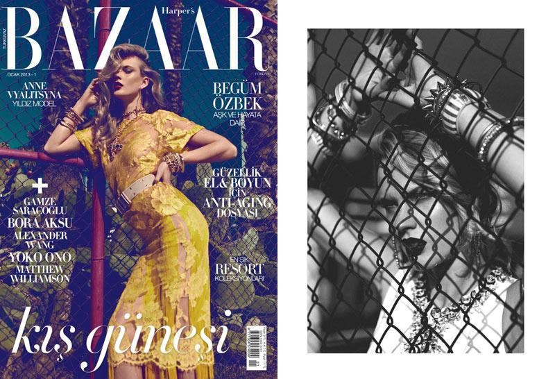 Anne Vyalitsyna Stuns in Harper's Bazaar Turkey's January 2013 Cover Shoot by Koray Birand
