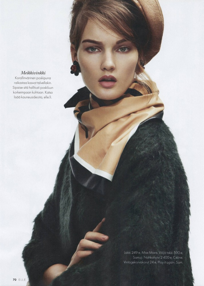Kirsi Pyrhönen Dons Elegant Knits for Elle Finland January 2013 by Jesse Laitinen