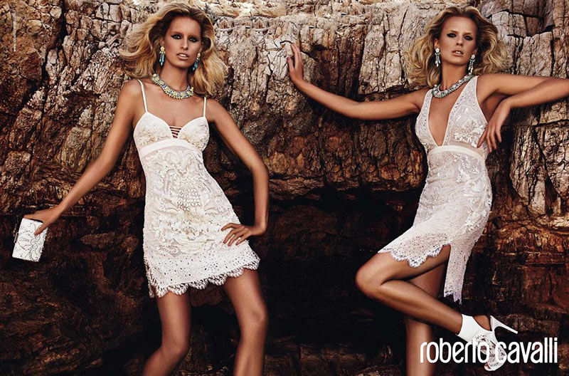Anne Vyalitsyna and Karolina Kurkova Get Glam for Roberto Cavalli's Resort 2013 Campaign