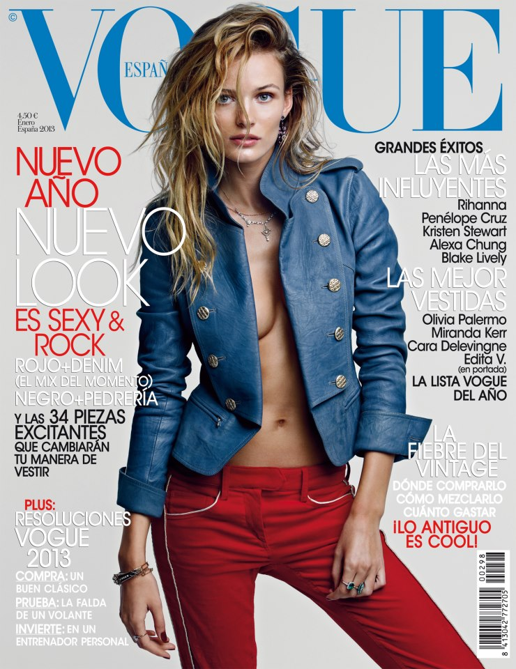 Edita Vilkeviciute Rocks Chanel for Vogue Spain's January 2013 Cover