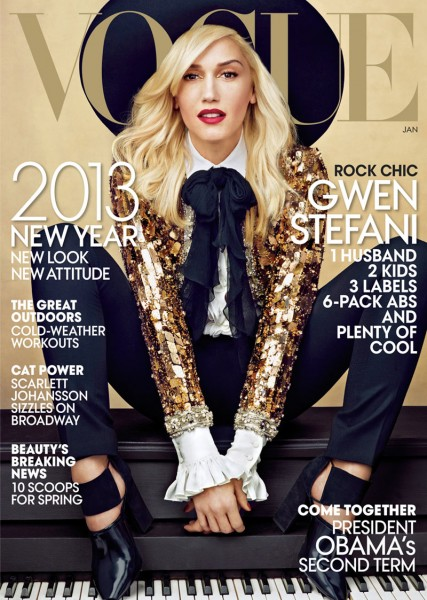Gwen Stefani Covers Vogue US January 2013 in Saint Laurent