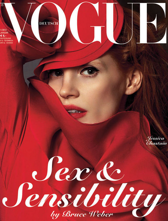 Jessica Chastain is Swathed in Gucci for Vogue Germany's January 2013 Cover