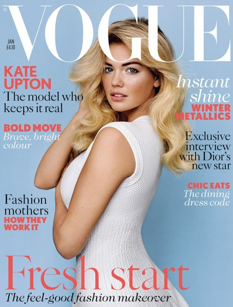 Kate Upton Graces the January 2013 Cover of Vogue UK in Azzedine Alaïa