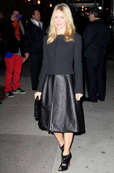 Naomi Watts in Calvin Klein Collection at The Late Show with David Letterman