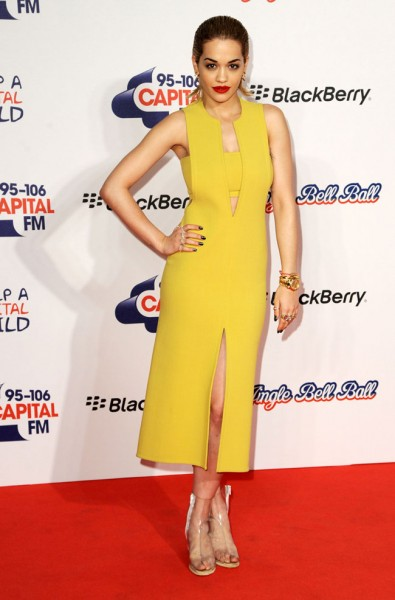 Rita Ora in Calvin Klein Collection at the 2012 Jingle Bell Ball