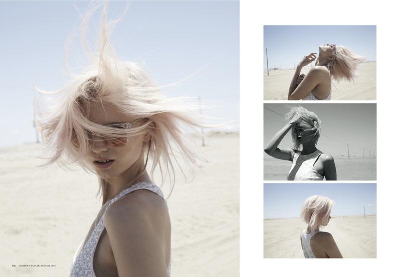 Abbey Lee Kershaw Takes to the Desert for Harper's Bazaar Australia January 2013 by Simon Upton
