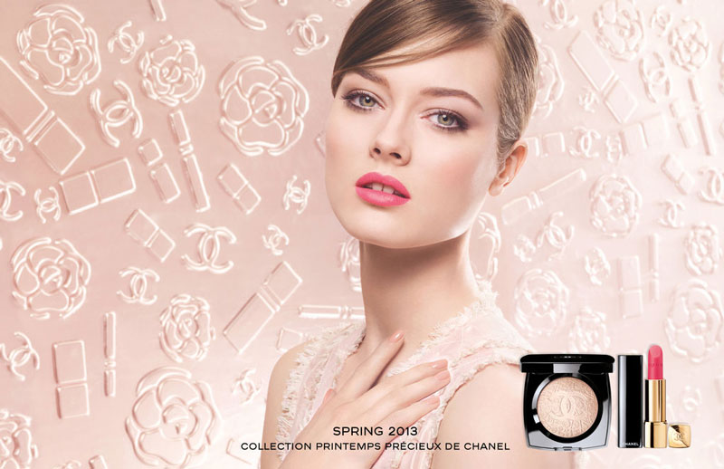Jac Jagaciak is Demure in Pink for Chanel's Spring 2013 Cosmetics Campaign