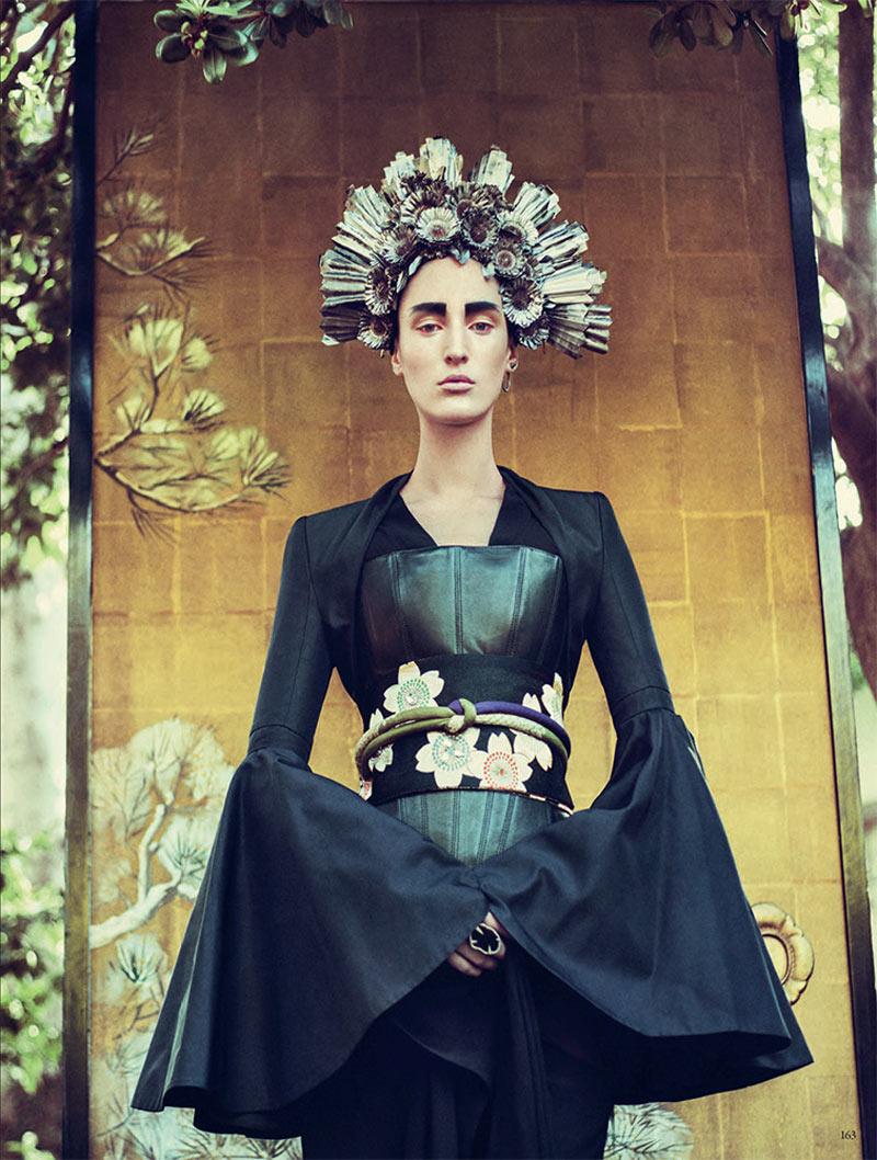 Franzi Mueller is Geisha Glam for Vogue Germany February 2013 by Sebastian Kim