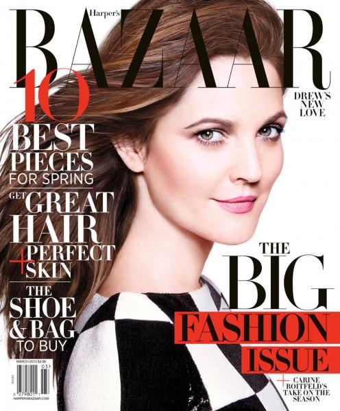 Drew Barrymore Dons Louis Vuitton for Harper's Bazaar US March 2013 Cover