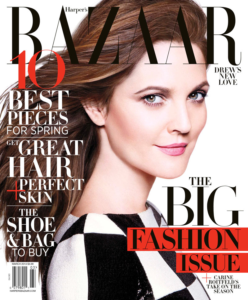 Drew Barrymore poses on Harper's Bazaar March 2013 cover