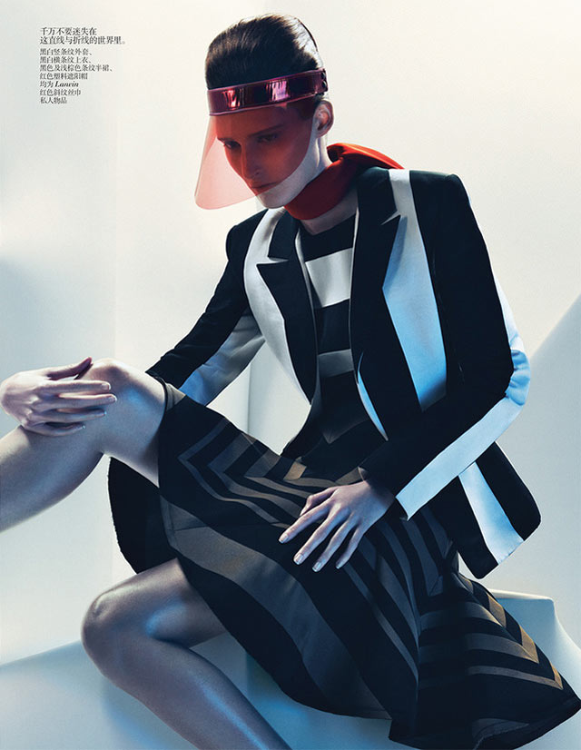 Marie Piovesan Sports Bold Prints for Vogue China January 2013 by Sebastian Kim