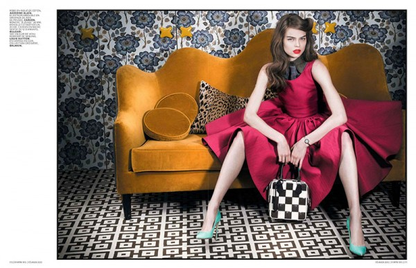 Estelle Yves Evokes 50s Elegance for L'Officiel Paris February 2013 by Thanassis Krikis