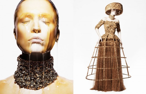 Raquel Zimmermann Gets Honey-Dipped for Alexander McQueen's Spring 2013 Campaign by David Sims
