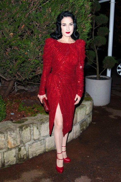 Dita Von Teese in Elie Saab Haute Couture at the Sidaction Gala Dinner