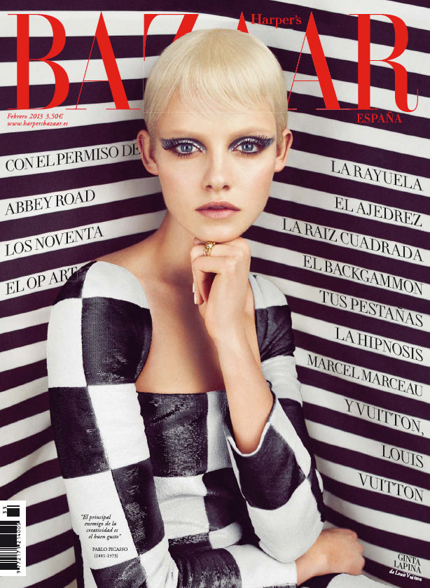 Ginta Lapina Mesmerizes in Louis Vuitton for Harper's Bazaar Spain February 2013 Cover