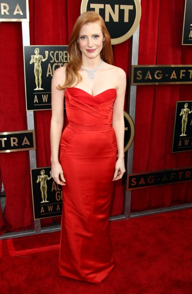 Jessica Chastain in Alexander McQueen at the 19th Annual Screen Actors Guild Awards
