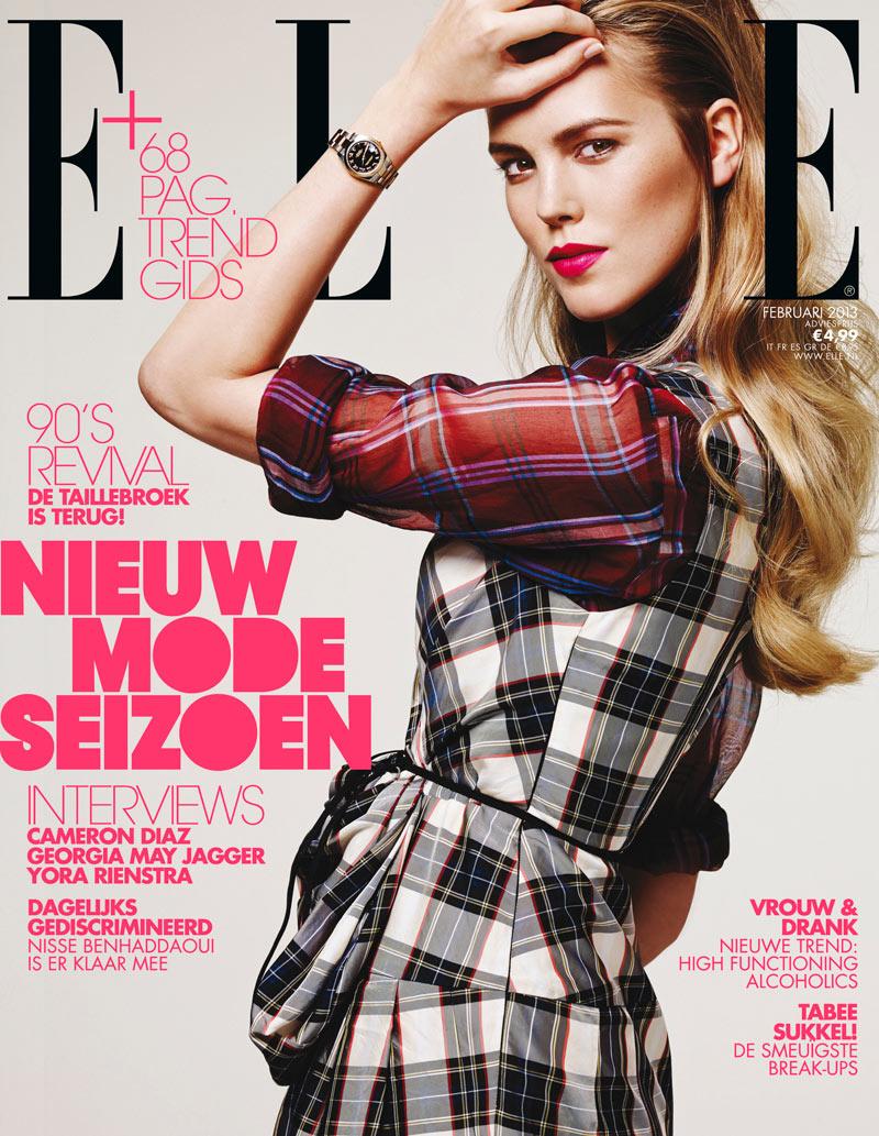 Josefien Rodermans Dons Dries Van Noten for Elle Netherlands' February 2013 Cover