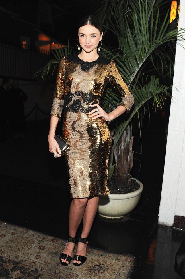 Miranda Kerr in Dolce & Gabbana at the Dom Perignon and W Magazine Golden Globes Celebration