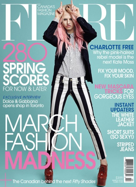 Charlotte Free Covers Flare's March 2013 Issue