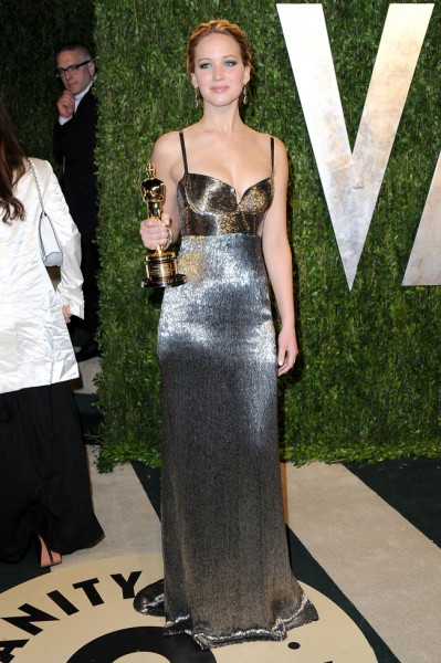 Jennifer Lawrence in Calvin Klein Collection at the 2013 Vanity Fair Oscar Party