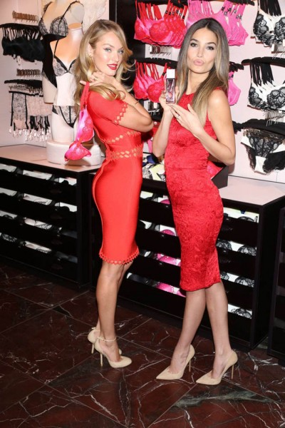 Candice Swanepoel and Lily Aldridge Celebrate Valentine's at Victoria's Secret Herald Square Store