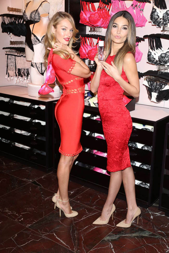 Candice Swanepoel and Lily Aldridge Celebrate Valentine's at Victoria's Secret Herald Square Store