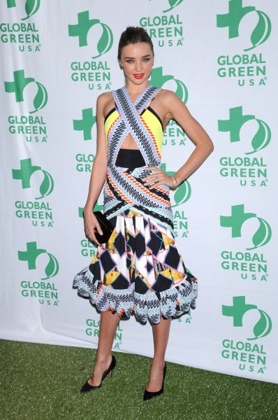 Miranda Kerr in Peter Pilotto at the 10th Annual Global Green USA Pre-Oscar Party