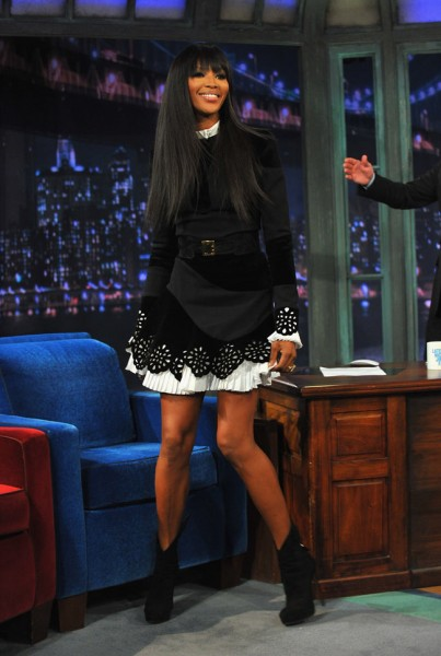 Naomi Campbell in Alexander McQueen at Late Night With Jimmy Fallon