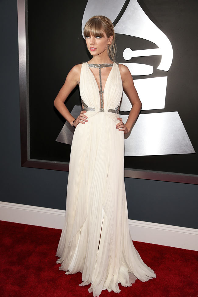 Taylor Swift in J. Mendel at the 55th Annual Grammy Awards