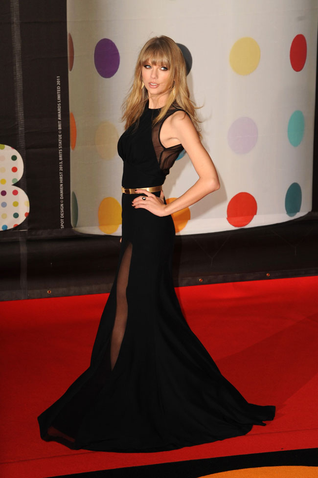 Taylor Swift in Elie Saab at the 2013 Brit Awards