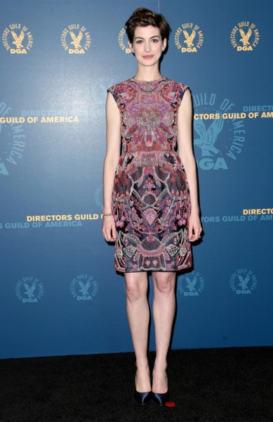 Anne Hathaway in Valentino Haute Couture at the 65th Annual DGA Awards