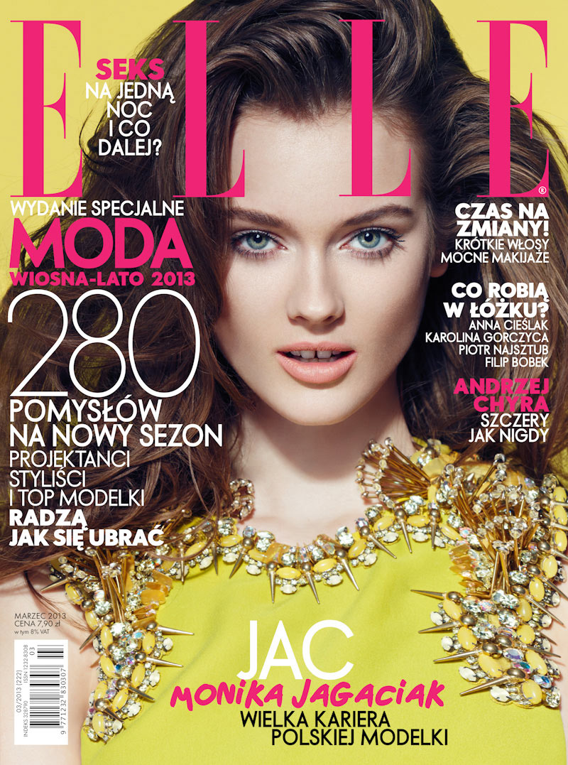 Jac Jagaciak Wears Gucci on Elle Poland's March 2013 Cover