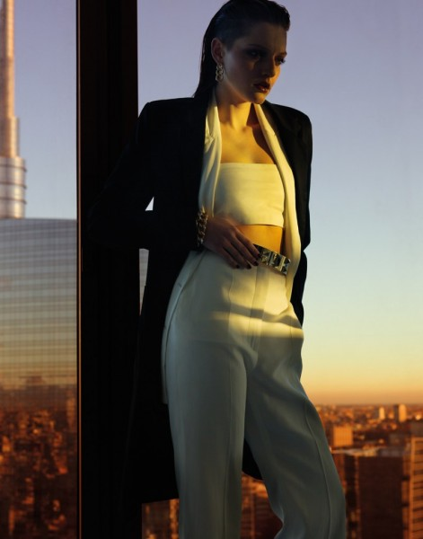 Helena Babic is Tuxedo Chic for Io Donna by Gianluca Fontana