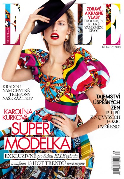 Karolina Kurkova Dons Dolce & Gabbana for Elle Czech's March 2013 Cover