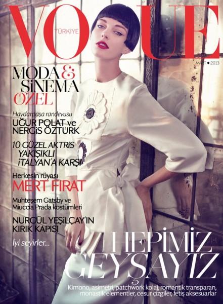 Patricia van der Vliet Graces Vogue Turkey's March 2013 Cover in Prada