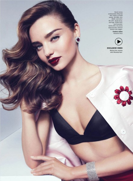 Miranda Kerr Sports Spring Styles for Vogue Australia's April Cover Shoot