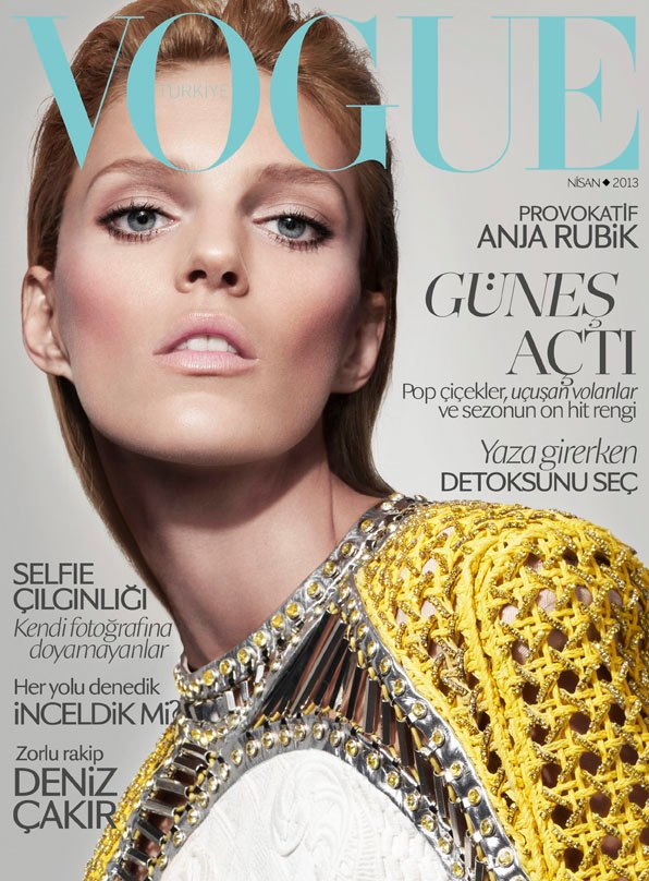 Anja Rubik Covers Vogue Turkey April 2013 in Balmain