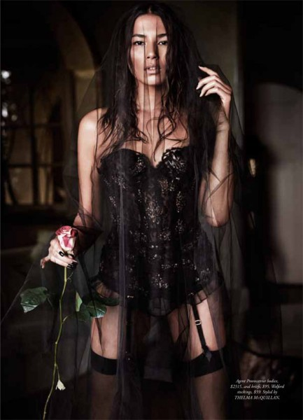 Jessica Gomes Seduces in Agent Provocateur for Harper's Bazaar Australia by Simon Lekias