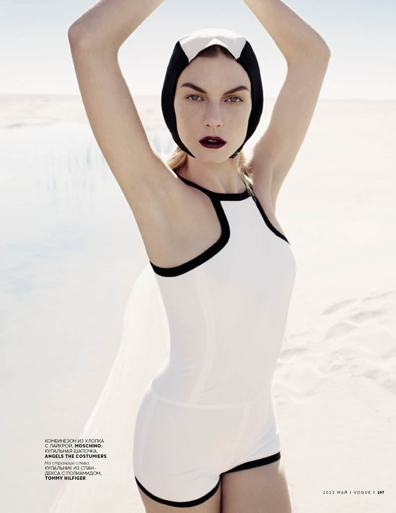 Angela Lindvall Wears Retro Swim in Catherine Servel's Vogue Russia May 2013 Spread