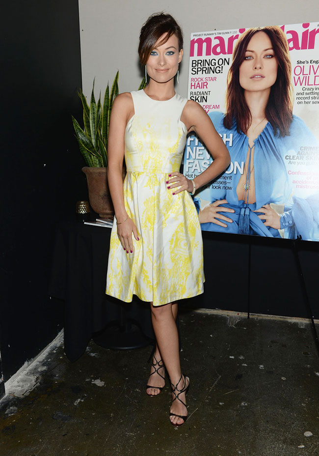 Olivia Wilde Dons Monique Lhuillier at Her Marie Claire Cover Launch