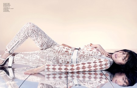 Sui He Dons All-White Leather in Vogue China by Sharif Hamza