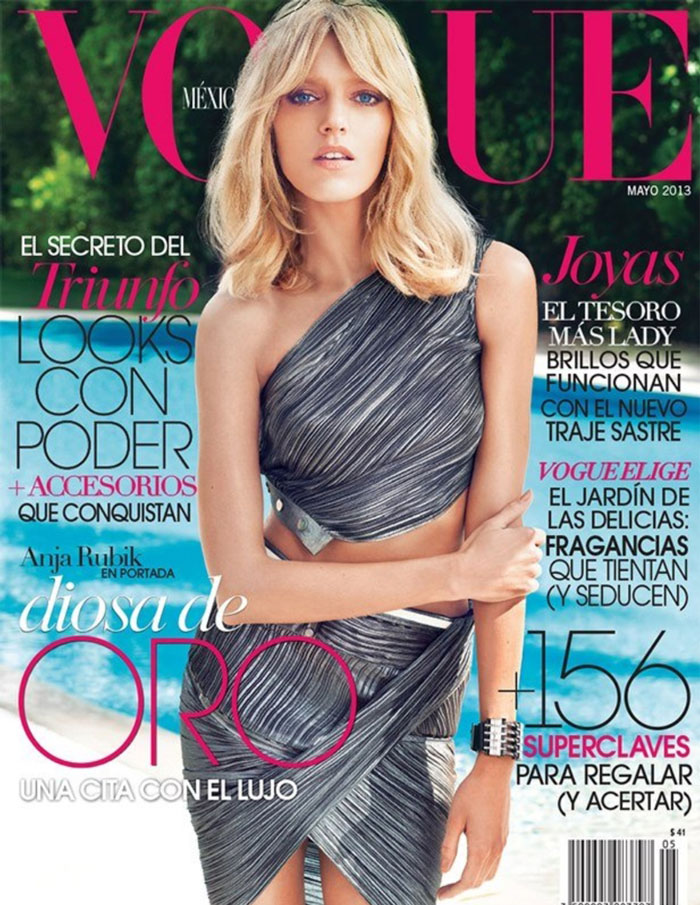 Anja Rubik is a Metallic Goddess for Vogue Mexico May 2013 Cover