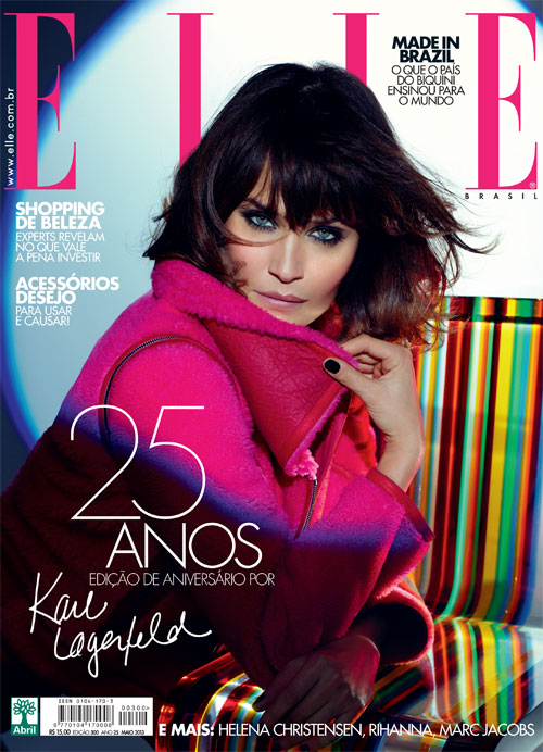 Helena Christensen Covers Elle Brazil's 25th Anniversary Issue by Karl Lagerfeld