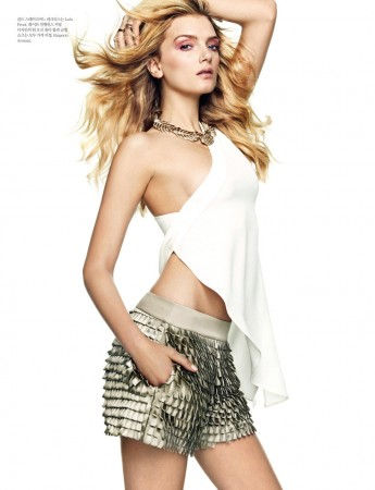 Lily Donaldson Rocks Emporio Armani for Elle Korea's April 2013 Cover Story